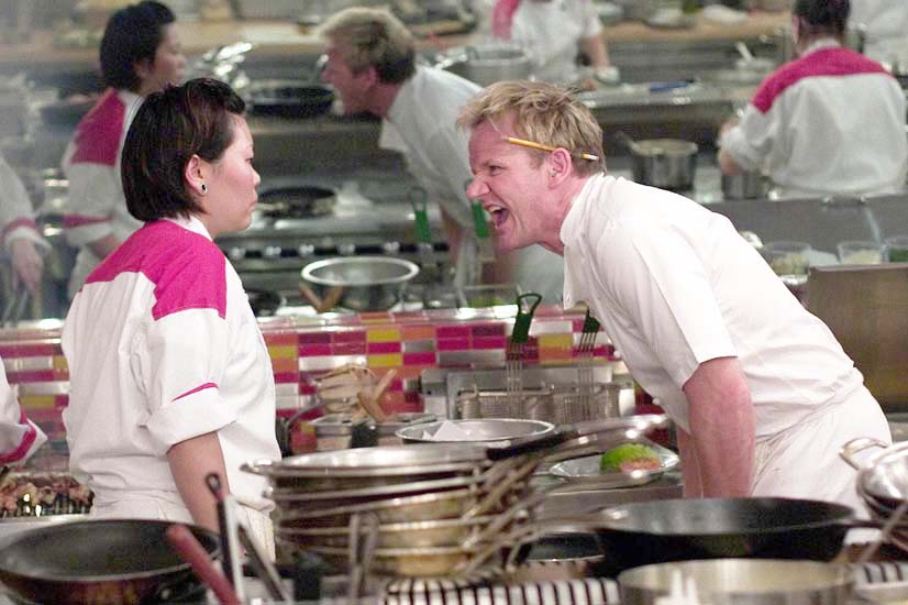 HELL'S KITCHEN: Chef Ramsay (R) yells at Tek (L) during dinner service  on an all-new HELL'S KITCHEN airing Tuesday, Aug. 11 (8:00-9:00 PM ET/PT) on FOX. ©2009 Fox Broadcasting Co. Cr: Patrick Wymore/FOX