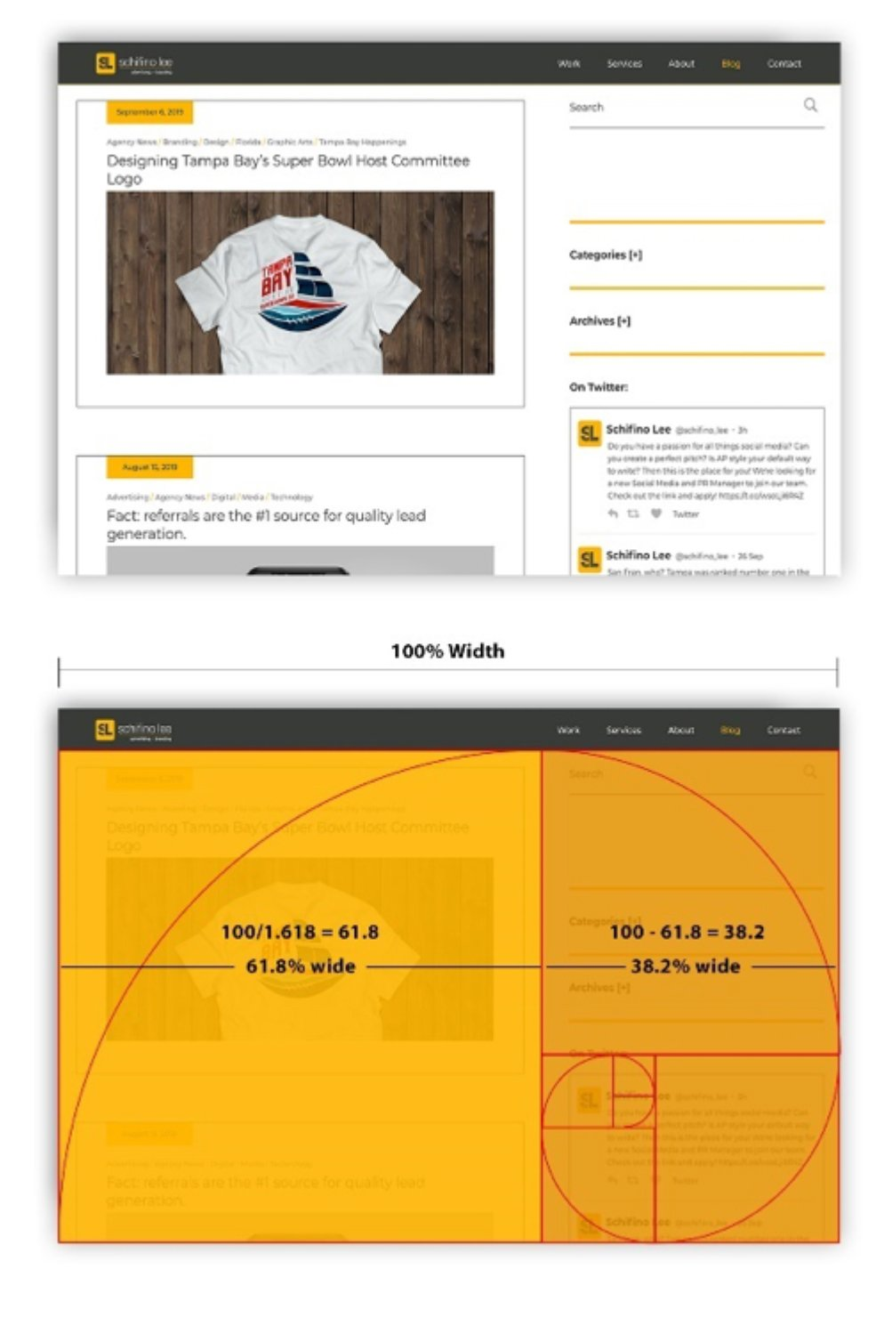 Samples of the Golden mean used in web design